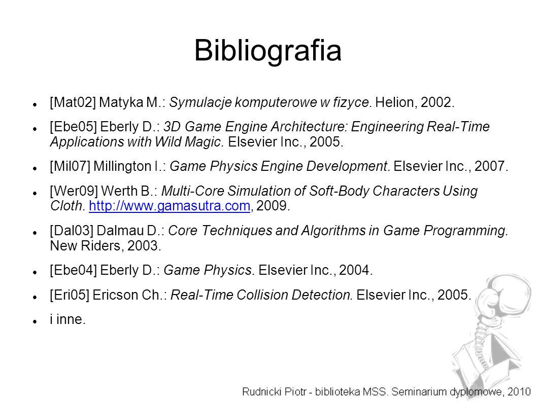 Bibliografia [Mat02] Matyka M.: Symulacje komputerowe w fizyce. Helion, 2002.